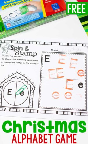 Christmas themed Alphabet spin and stamp preschool activitiy