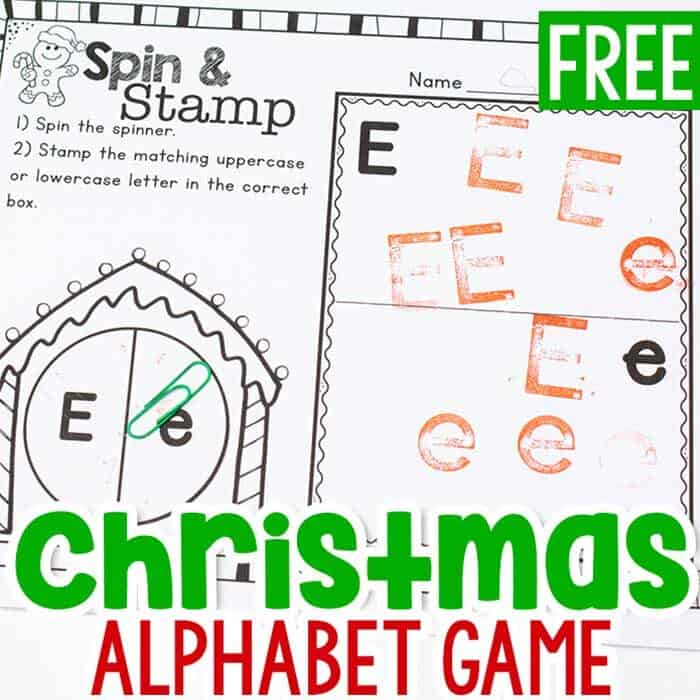 Christmas Alphabet Game spin and stamp free printable preschool activity