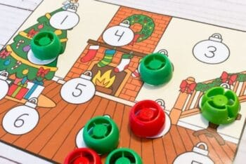 Christmas Counting game worksheet with tokens to cover the numbers on the page.