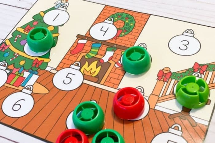 Free Christmas Theme Number Recognition Games. 2 Cover up counting games