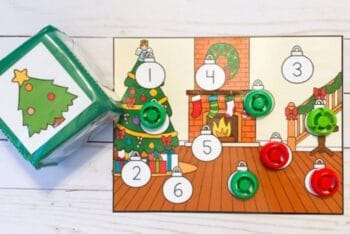 Free roll and count Christmas counting game for preschoolers.