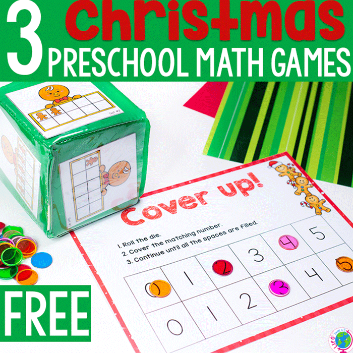 3 Free printable Christmas hands on math games for preschoolers.