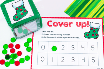 Christmas themed cover up math game for preschoolers
