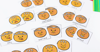 Cute Gingerbread Emotions Matching faces for printable memory game