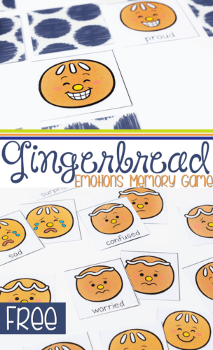 gingerbread emotions matching game Christmas themed printable for preschoolers