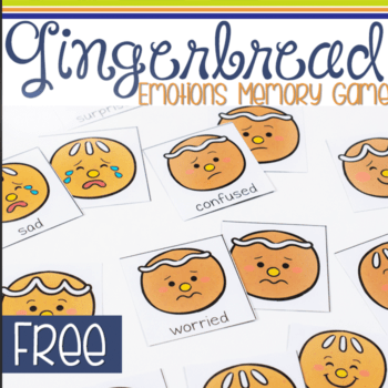 gingerbread emotions memory matching game free printable for preschoolers