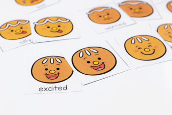 cute Gingerbread emotions memory match printable card game for preschoolers
