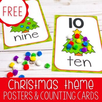 Free Christmas counting cards for preschooler in English and Spanish. Christmas number posters for counting 1-10.