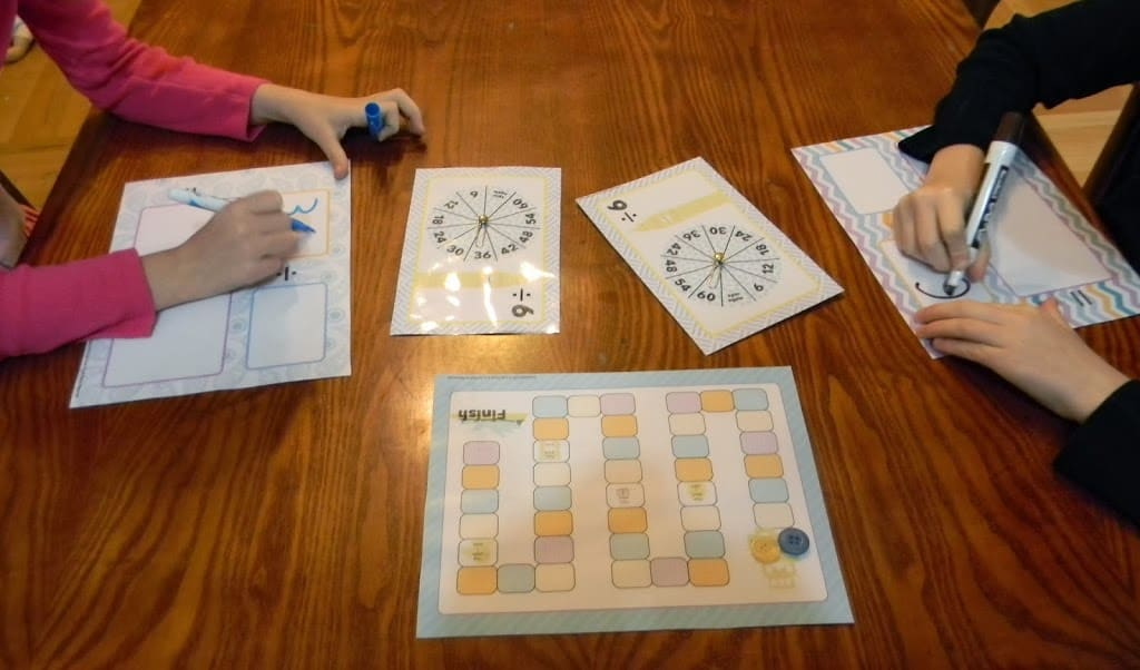 students playing printable math game for learning