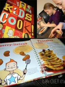 kids making pancakes with Kids Cook cookbook