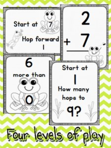 Four ways to play and learn numbers, addition and subtraction on the Frog Number Line.