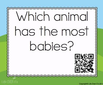 QR code printable card for farm themed preschoool pack