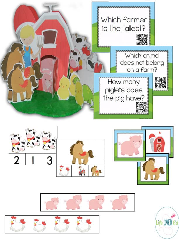interactive farm mega math printable pack for preschoolers