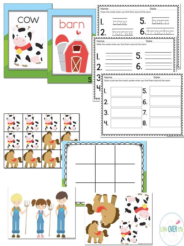 farm mega printable pack with handwriting pages