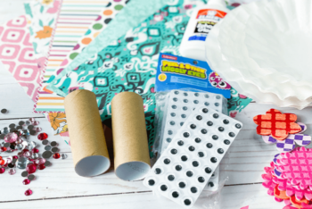 Overhead view of the supplies for the Doll Toilet Paper Roll Crafts for Kids.