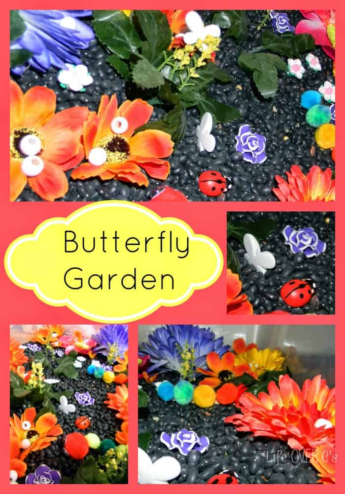 Butterfly Garden Sensory Bin for learning about the butterfly life cycle.