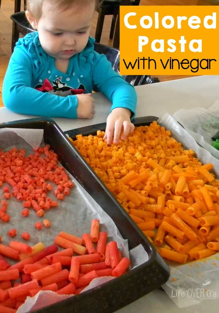 Making colored pasta with vinegar is a great, non-toxic way to add some color to your pasta crafts and activities!