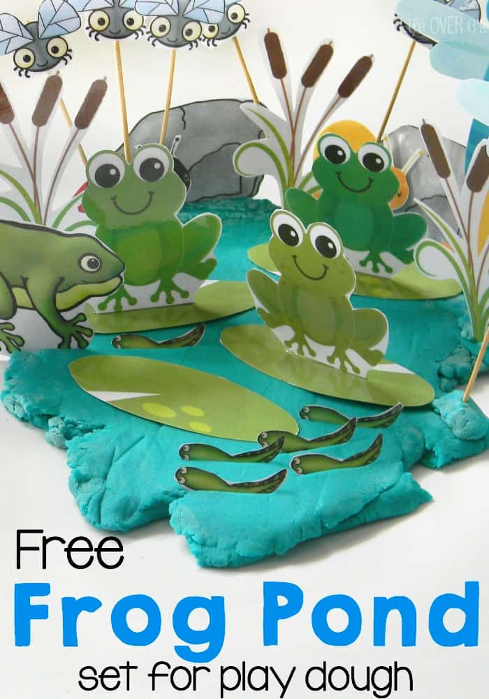 free frog pond printable set for play dough