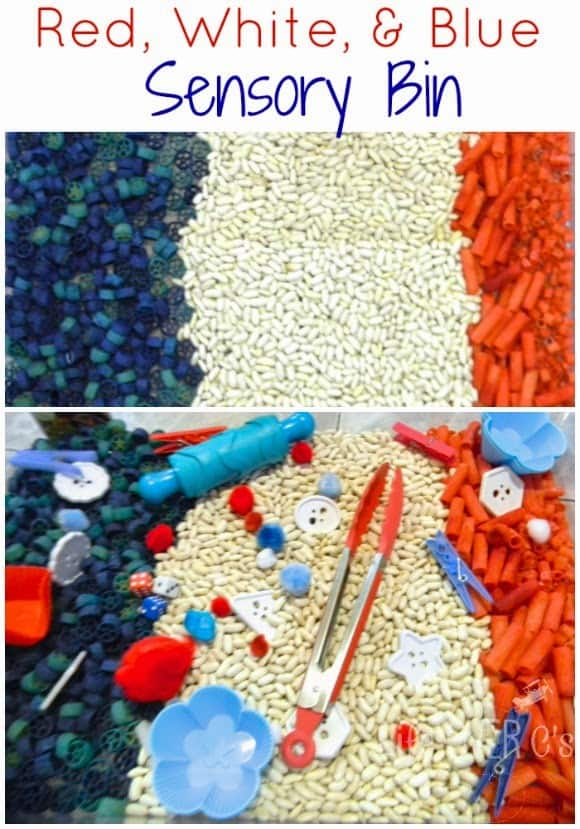 patriotic sensory bin red white and blue