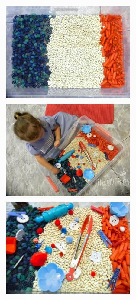 red white and blue sensory bin for kids