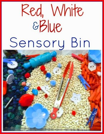 fourth of july red, white and blue sensory bin