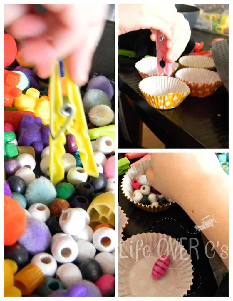 grabbing bead with clothespin for fine motor skills work