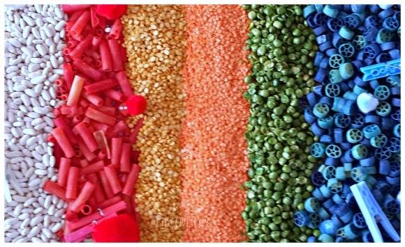 textured rainbow bin