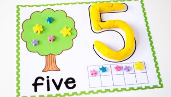 The play dough tree counting mat for the number 5.
