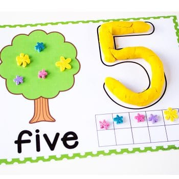 Play dough number mats for numbers 1-10. These adorable number mats are great for fine motor skills! Kids use ten-frames, counting and learn numerals and number words with these simple play dough mats.