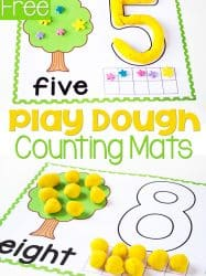 Free Tree Play Dough Number Mats for Counting to 10