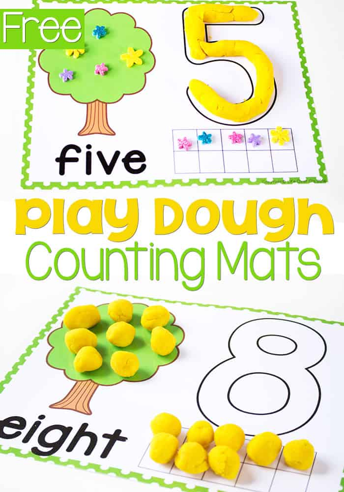 Play dough number mats for numbers 1-10. These number mats are great for fine motor skills! Kids use ten-frames, counting and learn numerals and number words with these simple play dough mats.