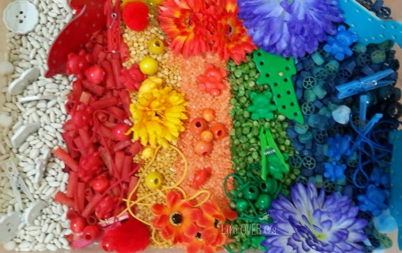 rainbow sensory bin for kids