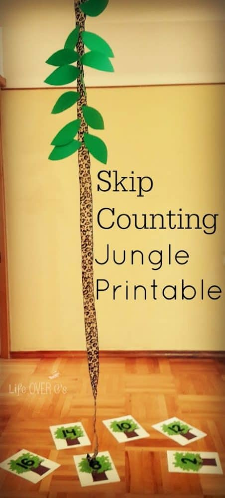 skip counting math activity with a jungle theme