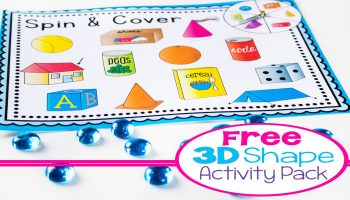 Free printable 3D Shape activity pack! 4 fun activities for learning about 3D shapes: Shape Spin & Cover, Memory Game, Flip Book and picture supported sentence building cards. Kids will love learning about 3D shapes with these hands-on activities!