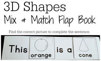 3d shapes flap book for kindergarteners