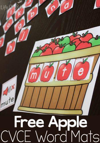 free apple themed CVCE word mats