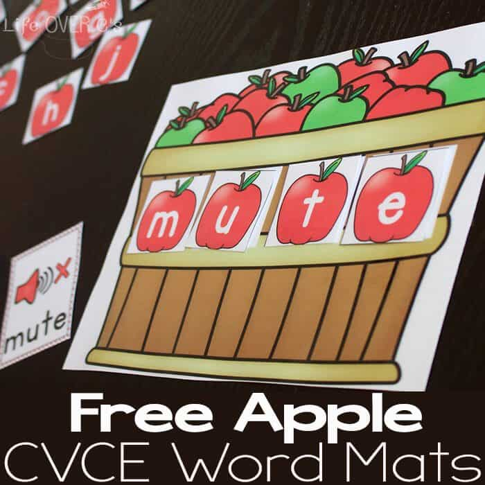 These free apple themed CVCE word mats are a great way to introduce CVCE word families!