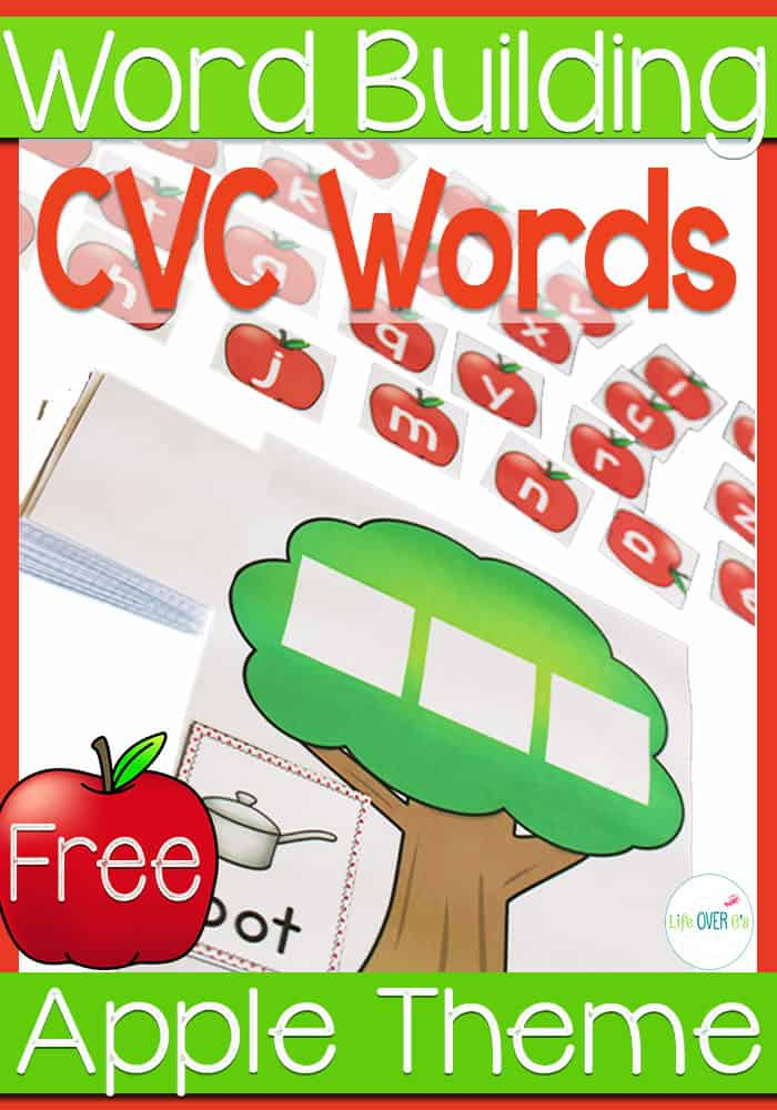 Practice building CVC Words with these super cute FREE apple tree mats.