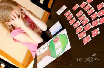 apple tree CVC game for kindergarteners