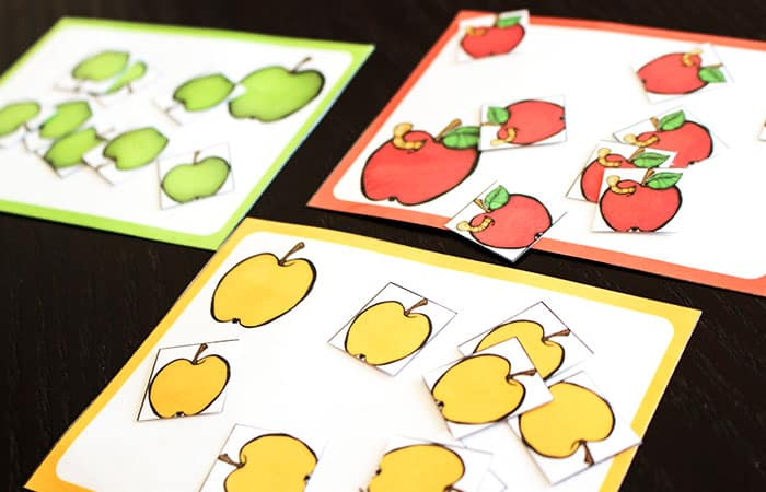 These apple sorting cards are just one part of the huge Apple Preschool & Kindergarten mega pack!