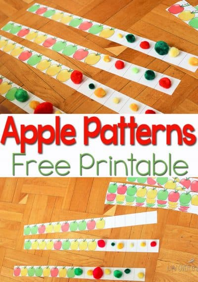 This apple patterns free printable is a great way to work on pattern recognition with big kids.