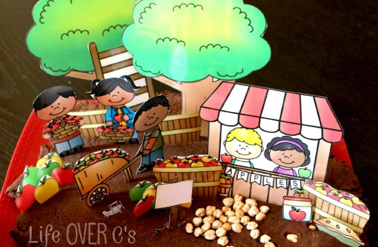 Apple orchard play dough scenery