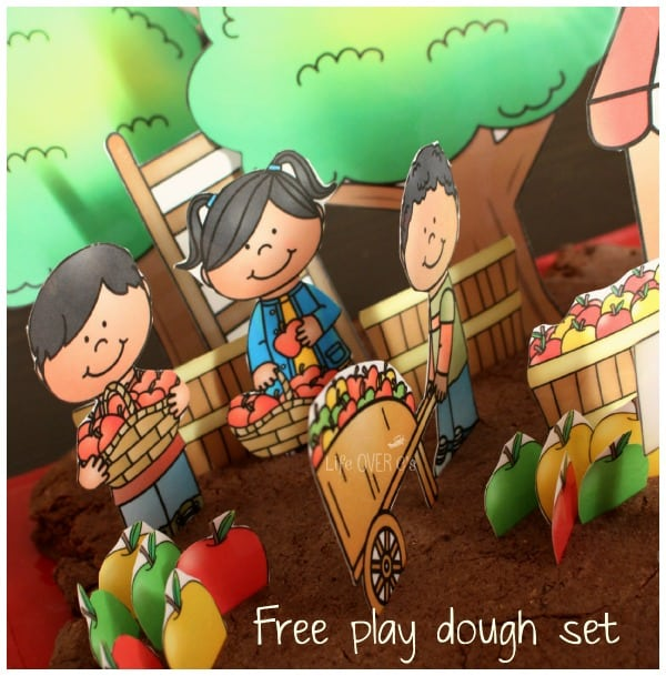apple orchard play dough printable set