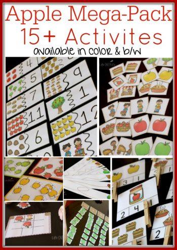 apple math pack for kindergarten and preschool