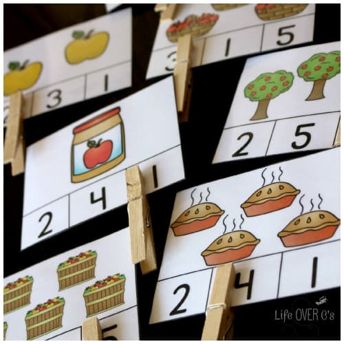 count to 10 with apple clip cards