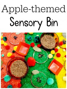 apple sensory bin for fall