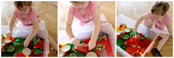 apple sensory bin play toddler