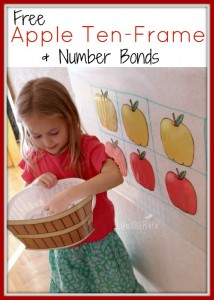 apple ten-frame number bond printable
