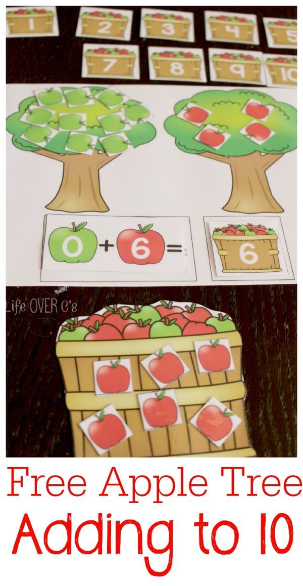 Free Printable Adding to 10 Apple Tree