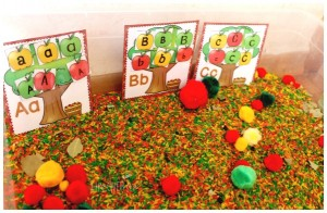 apple tree alphabet sorting activity with sensory bin